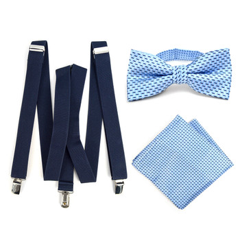 3pc Men's Navy Clip-on Suspenders, Dots Bow Tie & Hanky Sets - FYBTHSU-N.BL#7