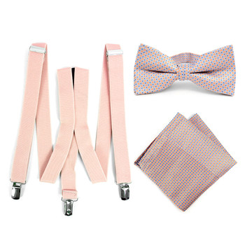 3pc Men's Peach Clip-on Suspenders, Dots Bow Tie & Hanky Sets - FYBTHSU-PH#1