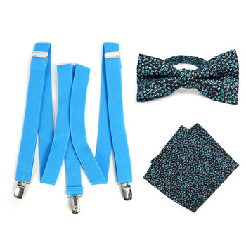 3pc Men's Turquoise Clip-on Suspenders, Floral Bow Tie & Hanky Sets - FYBTHSU-TURQ#3