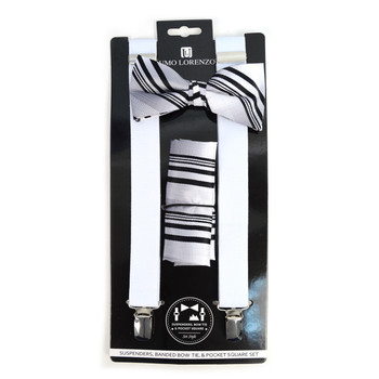 3pc Men's White Clip-on Suspenders, Striped Bow Tie & Hanky Sets - FYBTHSU-WH#1