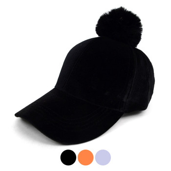 Black Velour Baseball Cap with Faux Fur Pom Pom - VLRC0822