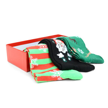 3 Pairs Pack Men's Christmas Holidays Crew Socks Gift Box - 3PK-MXMS1-BX