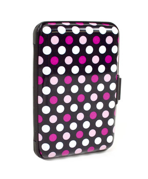 Card Guard Aluminum Compact Card Holder CASE023 (Pink Dots)
