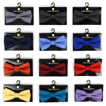 12pc Prepack Assorted Men's Solid Tone Poly Woven Banded Bow Ties FBB-SLD