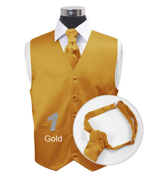 Gold Poly Solid Satin Cravat FC1701-1
