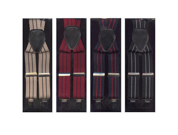 12pc Men's Assorted Clip Suspenders  ACS3701