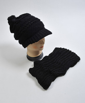 Black Knit Acrylic 2-Piece Cap and Scarf Set WNTSET28