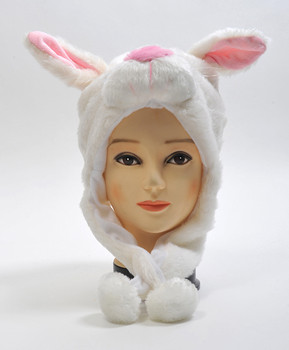 6pc Pre-Pack Animal Plush Hat - White Bunny HATC1190