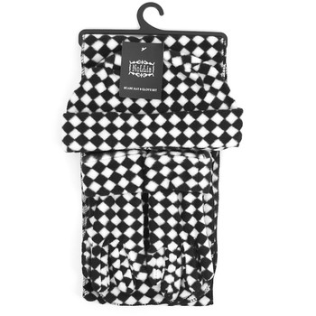 Women's Fleece Black & White Checkered Winter Set WSET8060