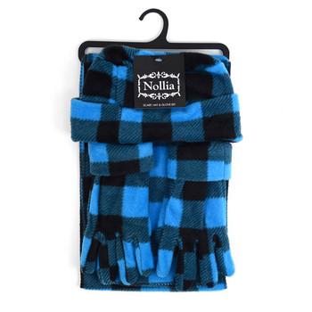 Women's Fleece Azure Blue Plaid Winter Set WSET8020-BLU