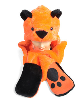 6pc Pre-Pack Animal Hats With Paw - Bear Orange AHP011331