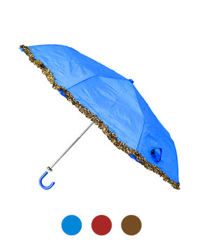 Ruffled Trim Telescopic Shaft Umbrella UC3251