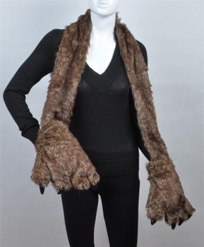Animal Faux Fur Scarf With Paw AHP1030