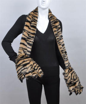 Animal Faux Fur Scarf With Paw AHP1040