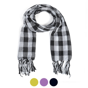 12pc Light Viscose Plaid Scarf LS4460