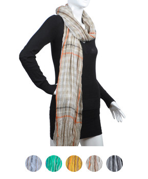 12pc Assorted Pack Viscose Plaid Scarf LS4430
