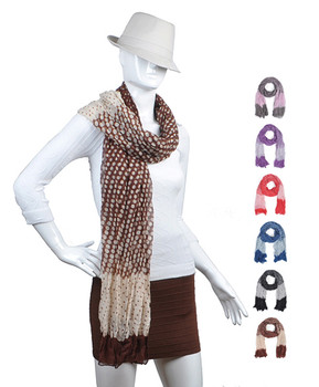 12pc Assorted Light Viscose Dot Scarf LS4550