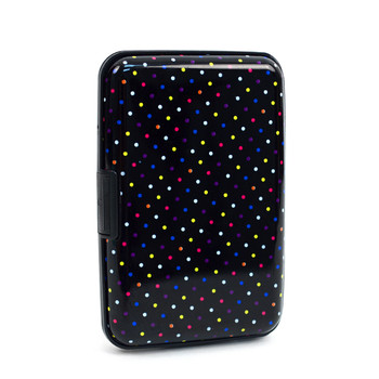 Card Guard Aluminum Compact Wallet Credit Card Holder with RFID Protection - Rainbow Dots