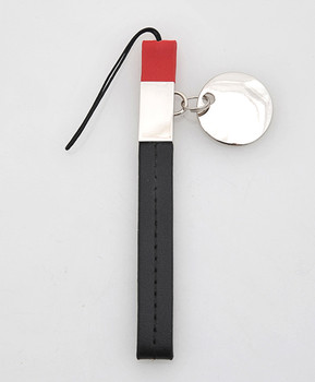 12pc Black & Red Leather Cell Phone Strap with Charm MS1010