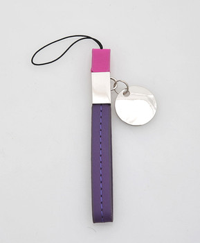 12pc Purple & Pink Leather Cell Phone Strap with Zinc-Alloy Charm MS1030