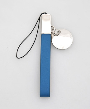 12pc Blue Leather Cell Phone Strap with Zinc-Alloy Charm MS1040