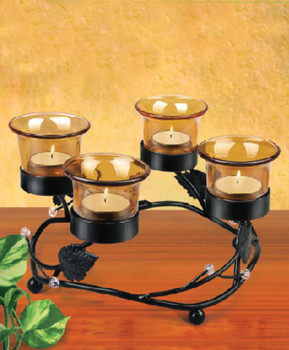 4-Piece Colored Glass & Leaf Metal Stand Candle Holder CH1140
