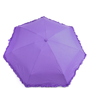 Polka-Dots Compact Solid Color Ruffled Trim Umbrella UC5331