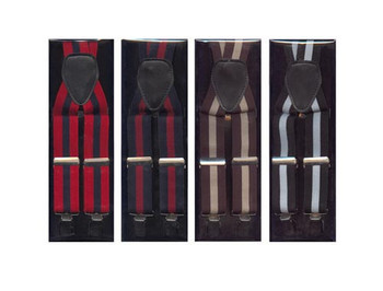 12pc Men's Assorted Clip Suspenders with Box - ACS3702