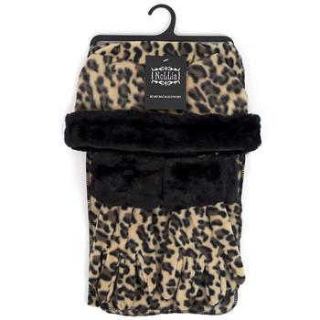 Women's Fleece Leopard Print with Fur Trim Winter Set WSET91