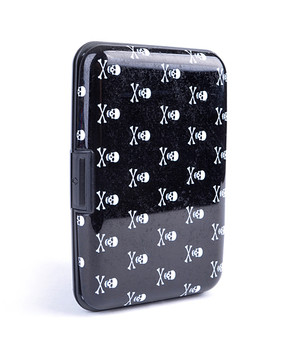 12pc Pack Card Guard Aluminum Compact Card Holder - Black Skull