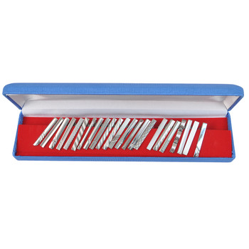 24pc Assorted Silver Slim Tie Bars Set TB1302SLIM/BL