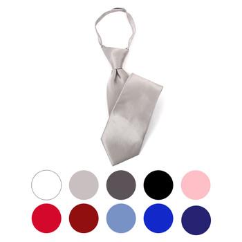 Boy's Silk Solid Zipper Tie BSZ3301