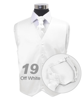 Off White Poly Solid Satin Cravat FC1701-19