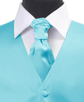 Turquoise Poly Solid Satin Cravat FC1701-21