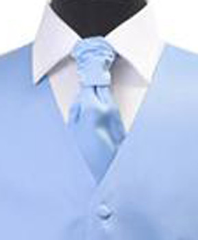 Sky Blue Poly Solid Satin Cravat FC1701-23