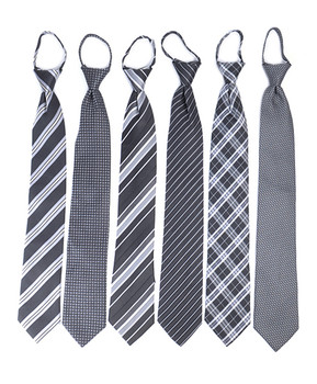 6pc Pack Poly Woven Mixed Zipper Ties - Black