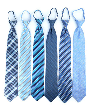 6pc Pack Poly Woven Mixed Zipper Ties - Blue