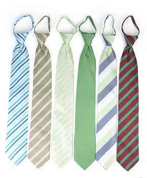 6pc Pack Poly Woven Mixed Zipper Ties - Green