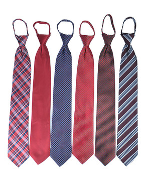 6pc Pack Poly Woven Mixed Zipper Ties - Red