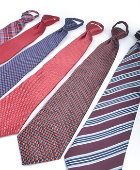 6 Pack Poly Woven Mixed Zipper Ties - Red PWZRD