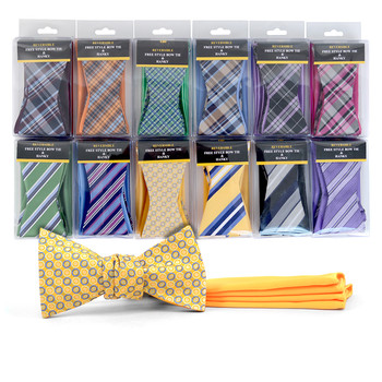 24pc Men's Boxed Microfiber Woven Reversible Freestyle Bow Tie & Hanky Set FRBMP
