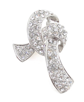 12pc. Brooch - Ribbon Silver IMBCBR09932