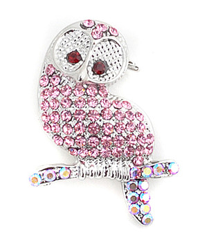 12pc. Brooch - Owl Pink IMBCBR0372
