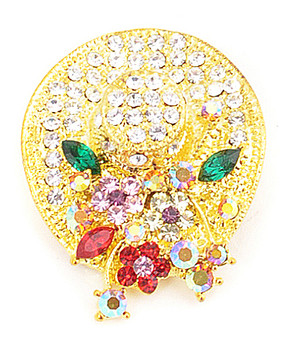 12pc. Brooch - Cocktail Hat Gold IMBCBR08052