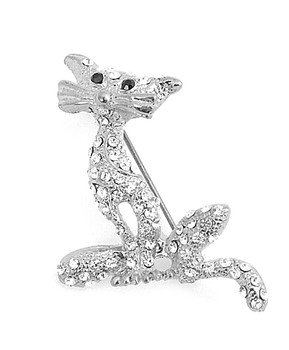 12pc. Brooch - Silver Panther IMBCBR08841
