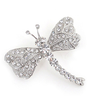 12pc. Brooch - Dragonfly Silver IMBCBR09681