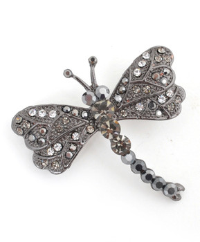 12pc. Brooch - Dragonfly Black IMBCBR09682