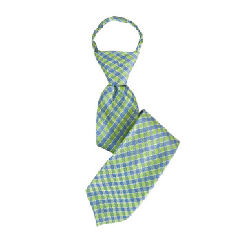 "Boy's 14"" Plaid Green/Baby Blue Zipper Ties"
