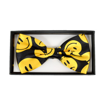 Men's Yellow Smiley Face Black Banded Bow Tie