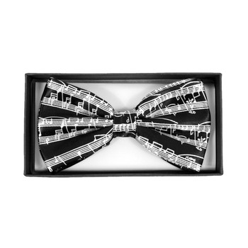 Men's White Music Staff Black Banded Bow Tie